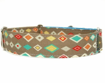 Argyle Dog Collar - Martingale Dog Collar - Designer Dog  Collar - Southwestern Dog Collar - Pet Accessories - Buckle Collar