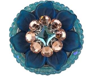 Unique Decorative Cabinet Knob Swarovski Crystal/Czech Glass Flower/Kitchen/Bath/Bling Cupboard Door/Girls Dresser Drawer/Art Deco Furniture