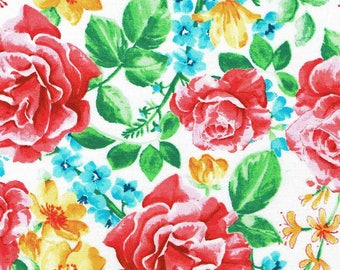 Watercolour Floral Vibrant Flowers on White Fabric Sold Per 1/2 Metre 100% Cotton