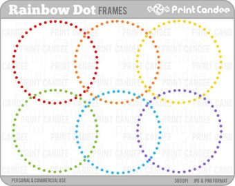 70% OFF SALE! - Rainbow Circle Dot Frames - Personal and Commercial Use - digital clipart frames clip art