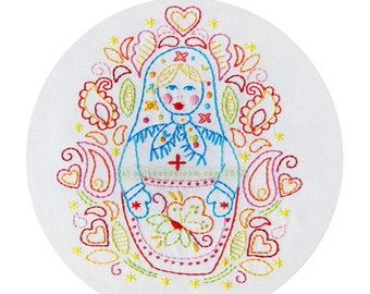 Embroidery Pattern Matryoshka Babushka Russian Doll PDF