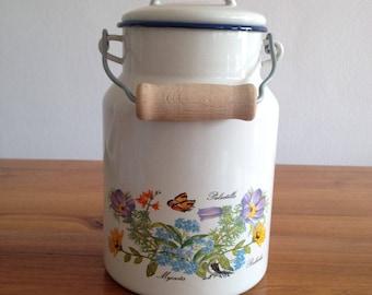 Enameled milk pot, planter, shabby chic french