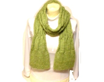 Lime Green Scarf Extra Long Hand Knit Reversible Handmade Long Scarf Ready To Ship