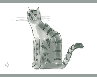 Cat Greeting Card, Blank, Grey Cat Design No A6006