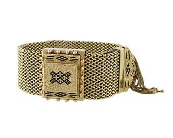 Victorian 14K Gold Enamel Fringed Bracelet with Watch