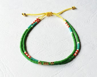 Multicolor bracelet - green Turquoise red and gold
