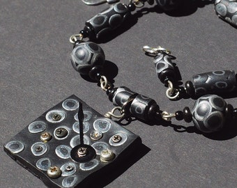 Clock Hand Necklace- Upcycled Hardware Necklace, Found Object Jewelry, Silver & Black Beaded Necklace, Polymer Clay Necklace by Tanith Rohe