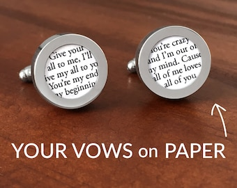 1st Anniversary Gift for Him / 1 Year Anniversary Gift / First Anniversary for Him / Custom Cufflinks with Wedding Vows / BEST-SELLER!