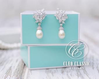 Wedding Jewelry Bridal Dangle Pearl Earrings Vintage Pearl Earrings Bridesmaid Earrings White Gold Rhodium Plated Drop Pearl Earring Elegant