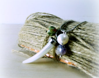 Pendant -- white Mother-of-Pearl dogtooth with amethyst, unakite, and pearl accents..artisan jewelry .  agiftoflaughter .  TAGT white purple