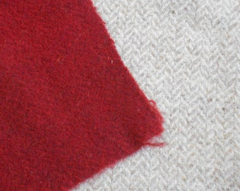 Herringbone  textured over-dyed wool fabric - primitive red - rug hooking - applique and crafts - quilting - sewing - needle arts - 021