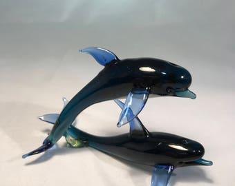 Deep blue color glass dolphin figurine