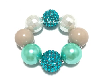 Toddler or Girls Aqua green, Taupe, Turquoise and White Chunky bracelet - Spring Turquoise Chunky Bracelet - Mermaid chunky bracelet - Beach