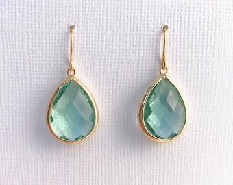 Peridot Ernite Teardrop Earrings, August Birthstone Earrings, Green Gemstone Drop Earrings, Dainty Gold Earrings, 12 COLOR OPTIONS