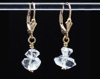 Herkimer Diamond earrings / Herkimer earrings / Crystal earrings / Two Herkimer Diamonds stacked with 14k Gold Fill