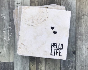 Hand Stamped Tile Coasters | Hello Life