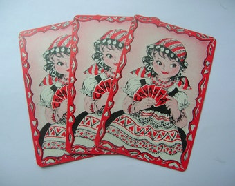 Vintage gypsy fortune teller playing cards, ephemera,scrapbook,paper craft,mixed media,