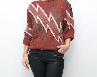 Vintage oxblood 80s flash women slouchy sweater / avant garde cardigan jumper top