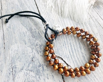 Pearl bracelet / Wrap bracelet / Adjustable bracelet / Bronze bracelet / Knotted pearl bracelet