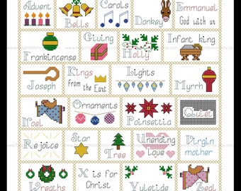 Christmas Alphabet Cross Stitch Sampler - PDF Pattern - INSTANT Download