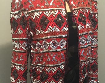 Vtg. Laurence Kazar Women M Red Beaded Jacket Formal Silk W Ornate Red and Black Beading W  Silver and Black Sequins