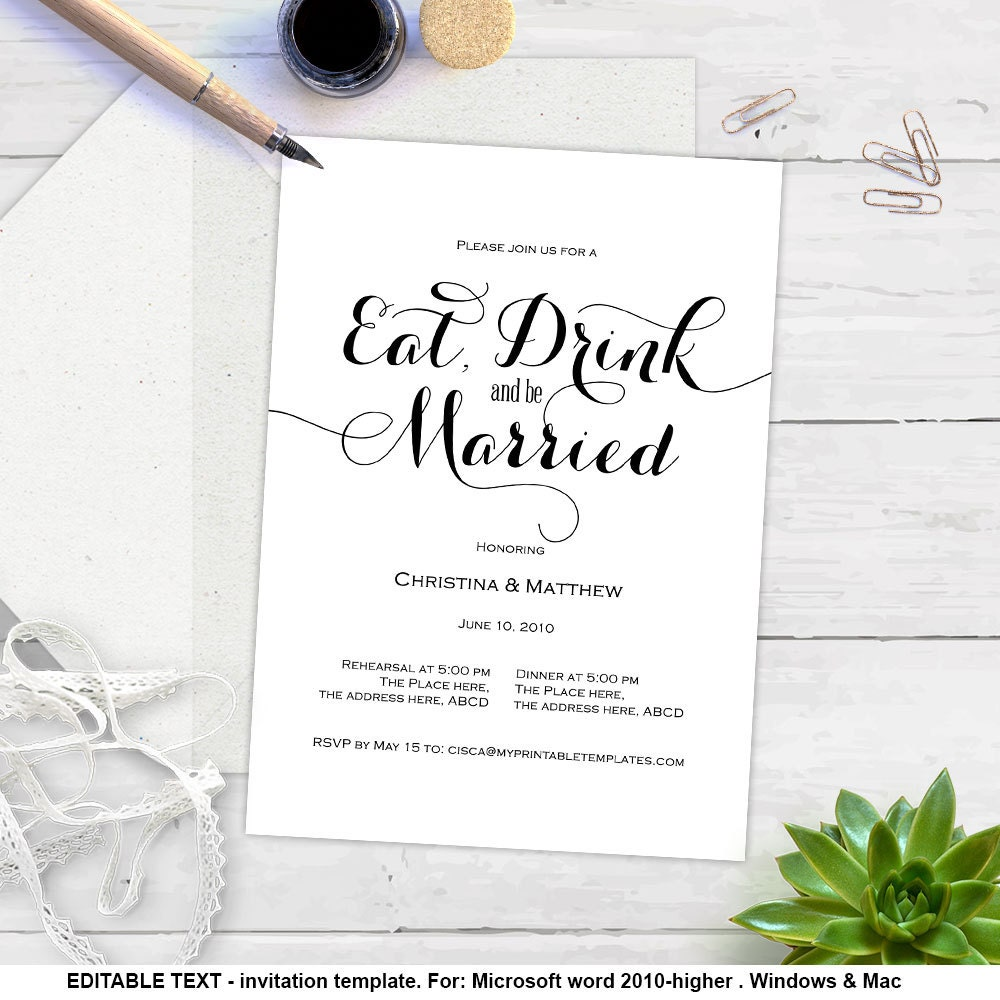 Printable rehearsal dinner eat drink and be married modern