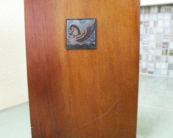 Vintage Wood Book End / Metal Pegasus Winged Horse