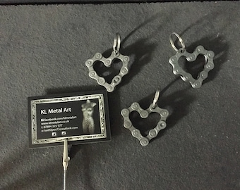 Heart shaped bicycle chain key ring