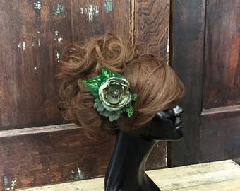 Green Fascinator- Woodland Wedding- Fairy Costume- Fairy Hair Clip- Fairy Hair- Elf Cosrume- LARP- Hand Fasting- Forest Fairy- Festival Hair