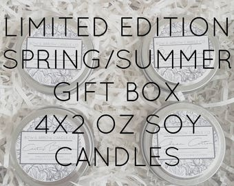 Pick Four 2 oz Spring & Summer Soy Candle Tins Gift Box   Bulk Soy Candle   Scented Soy Candles   Candle Gift Set   Gift Idea   Soy Candles