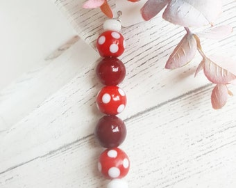 Polka Marble Beads - Red Marble Bead Set - Red Glass Beads - Spotty Marble Beads - Lampwork Beads - Lampwork Bead Set - Jewellery Making