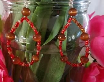 2 inch red and brown hoop earrings