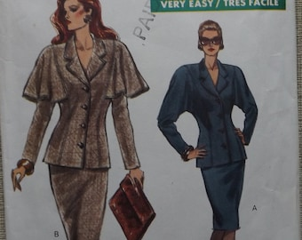 Vintage 1980s Vogue Sewing Pattern 7650 Loose-Fitting, Jacket with Optional Capelet and Semi-Fitted Skirt Sizes 12 to 16 Complete