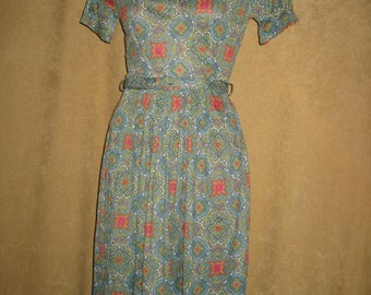 Day Dress Nylon Polyester S 50s Vintage