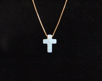 14K Gold Chain with White Opal Cross Pendant, Opal Charm Necklace