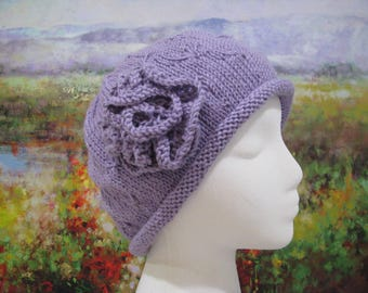 Women's Chemo Hat ' Mary', Lavender Cotton Knitted Hat, with knitted flower trim.