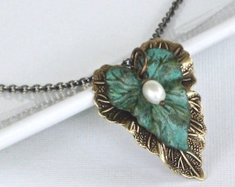 Leaf Necklace - Verdigris Patina Brass, Brass Mixed Metal, Leaf Jewelry, Nature Jewelry