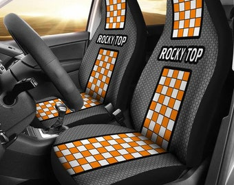 Tennessee/Rocky Top/Univ of Tennessee/Vols/ Football/Split Checkered Design/College/Football/Micro Fiber/Auto/Car/Seat Covers/Orange/White