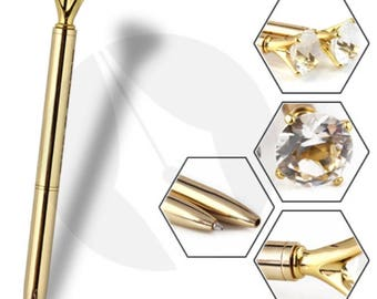 Bling Diamond Crystal Crown Scepter Metal Ballpoint Pen, Gold
