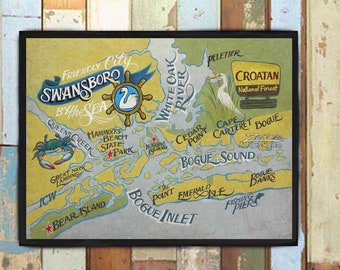 """Swansboro North Carolina Print from an original hand painted and lettered sign. onslow county """"friendly City by the Sea"""", Beach House Decor"""