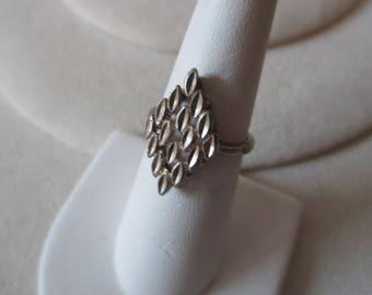 Vintage Sterling - 925 - ring - Unusual design Diamond shape measures size 6  - Estate find!