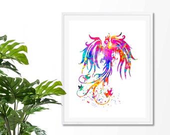 Phoenix Bird #1 Watercolor Fine  Art Print, Poster, Wall Art, Home Decor, Kids Wall Art,Play Room Wall Art, Nursery Wall Art, Archival print