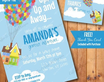 UP Baby Shower Invitation | Baby Shower Invite | UP Thank You Card | DIY Printable Invite