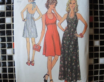 vintage 1970s Simplicity sewing pattern 5916  misses halter dress in two lengths size 12