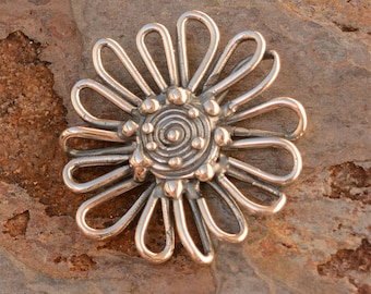Artisan Sunflower Connector Link or Pendant, Sterling Silver, CH-632