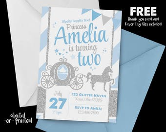 Princess Carriage Glitter Birthday Invitation, First Birthday Invitation, Cinderella Birthday, Horse Carriage, Glitter, Blue and Silver
