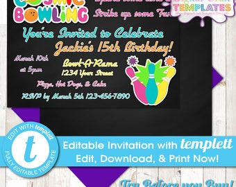DIY  Cosmic Bowling Invitations, INSTANT DOWNLOAD, Sports, Cosmic Bowling Birthday, Bowling, templett, #374