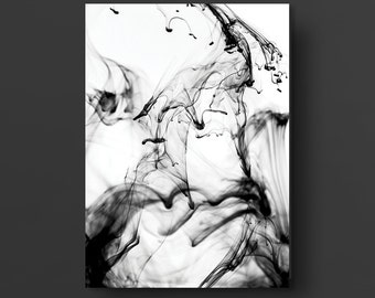 Abstract Ink Photography, Modern Abstract Photography, Minimal Art, Ink Art, Movement Abstract Art, Black And White, Size A4 !!!