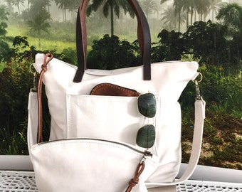 White Leather Bag. Large white leather Laptop bag. white cross body tote bag. soft white leather tote with brown straps , weekender