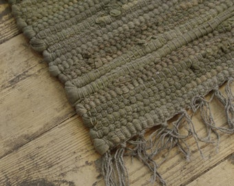Fab! Hand Made Loom Earthy Grey/Brown colour COTTON Rag Rug Recycled Boho Hippy Scandi Shabby Chic Traditional Upcycled Rustic 60 x 240cm
